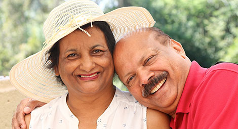 Older couple smiling
